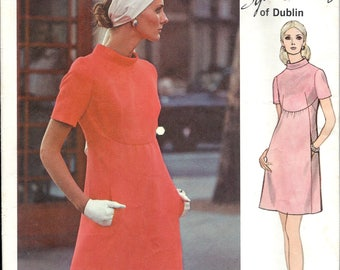 1970's Chic Mod A-Line Dress with High Curved Waistline , Vogue Couturier Design Pattern No. 2336 by Sybil Connolly Bust 36