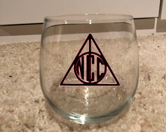 monogrammed Deathly hallows wine glass or tumbler