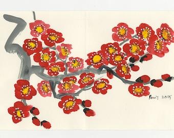 Original Brush Painting Red Cherry Blossom Greeting Card