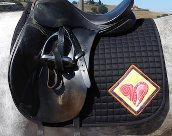 Be Valiant! Black Dressage Saddle Pad: The Heart Collection Pad HD-61