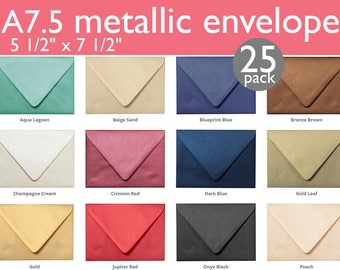 "Outer A-7.5 Metallic Euro Flap Envelopes (5 1/2"" x 7 1/2"") (25 Envelopes)"