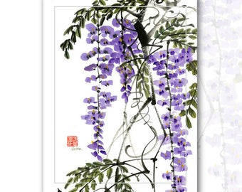 "Watercolor Chinese Brush Painting Cards  "" Wisteria"""