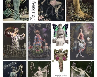 FANTASY FLAPPERS digital collage sheet, French postcards vintage photos women ladies butterfly wings dark gothic goddess, ephemera DOWNLOAD