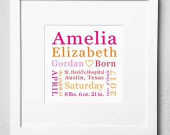 Personalized Birth Keepsake / Print Options / Baby Gift / Birth Announcement Plaque / Birth Memento / Baby Gift - Girl / Baby Gift - Boy