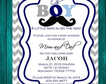 Mustache Invitation -Custom Design
