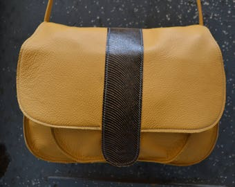 "Bag, satchel ""First"" genuine leather yellow and black fantasy"