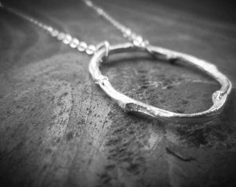 Sterling Silver Twig Necklace, Silver Twig Eternity Necklace, Botanical Jewelry