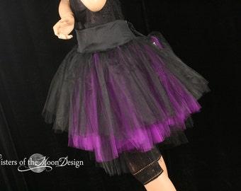 Layered Tutu tulle skirt black purple Three Layer Petticoat Midnight dance bridal bachelorette wedding halloween goth bride -All Sizes- SOTM