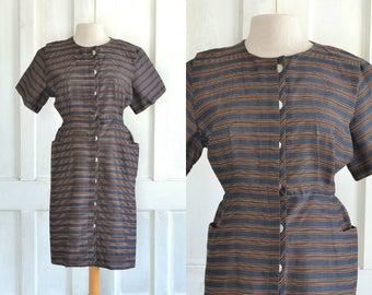 50s Striped Pocket Dress Button Down Dress - XXL Plus Size
