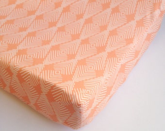 Aztec Crib Sheet - Baby Girls Bedding / Mini Crib Sheets / Coral Baby Bedding / Changing Pad Covers /Arrow Crib Bedding / Peach Fitted Sheet