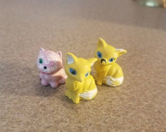 Yellow and Pink Cats Set of 3 no. 901 and 903 made in Hong Kong  cat figurines