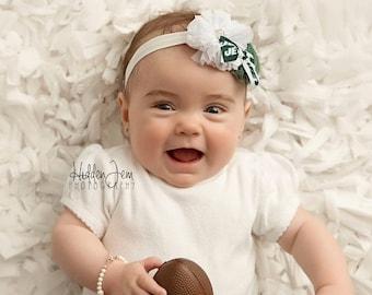 NY Jets Headband, Jets Newborn Headband, Green and White Jets Baby Hair Bow Headband