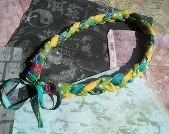 NASIA Braided Statement Fabric Necklace Yellow Green Orange Teal
