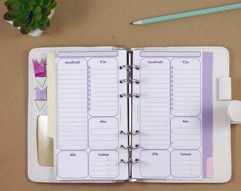 Daily planner inserts, Personal planner inserts, Filofax insert day on one page, printed inserts