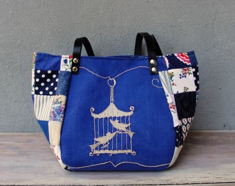 Woodland  Bird Bag - Vintage Embroidery, Blue  Patchwork and Leather Bag.