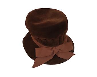 Brown Velvet Hat by Fashion Guild, Top Hat, Ribbon Hatband, Brown Vintage Hat, Vintage 1960s, Hat Size 20, Brown Bow