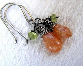 Sunstone Earrings ,   Peridot Earrings  , Gemstone Earrings , Oxidized Silver Earrings , August Birthstone