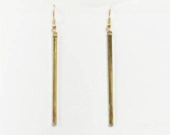 long bar earrings, gold bar earrings, simple earrings, minimalist earrings