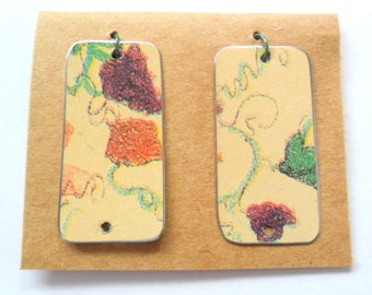 Upcycled Decorative Floral Tin Earring Findings
