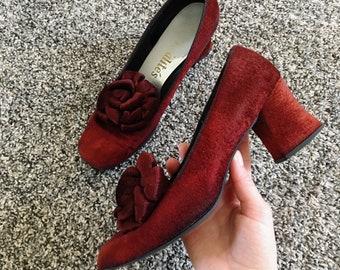 Vintage Red Velvet Heels with Rose Detail 1940s