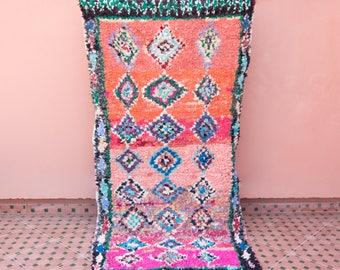 "8'0"" x 3'6""  Vintage Boucherouite Rug, Moroccan Rug, Nursery Rug, Geometric Rug, Rag Rug, Bohemian Rug, Abstract Art"