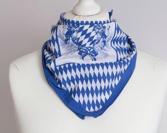 "Vintage small scarf, square scarf, bandana scarf, cotton scarf women scarf neckerchief 50cm / 20"" blue geometric"