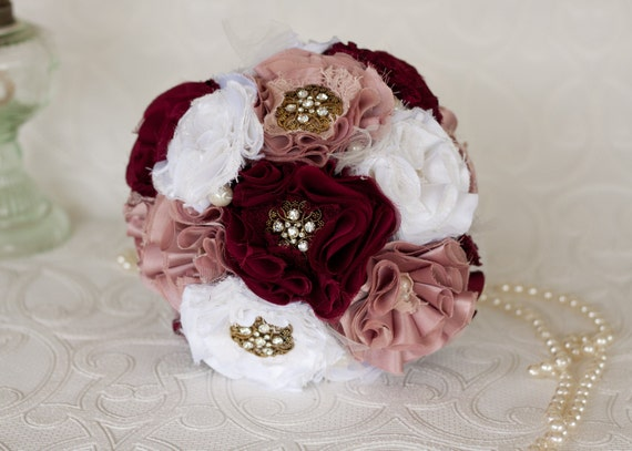 White Dusty Pink and Burgundy Layered Wedding/Bridal Bouquet