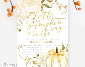 Fall Baby Shower Invitation, A Little Pumpkin is On the Way Baby Shower Invite, Autumn White Pumpkins & Roses, Printed or Printable - Fall 2