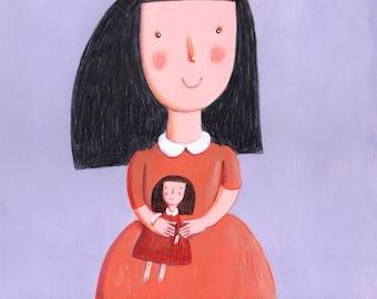 Little girl   Original Illustration, art for kids room, girls room, wall decor, wall art, baby girl, baby doll
