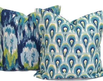 PILLOWS.Blue.Green.Set of 18X18,16x16 or 20x20 inch.Pillow Covers.Decorative Pillows.Housewares.Home Decor.Blue PillowsCoordinating Pillows