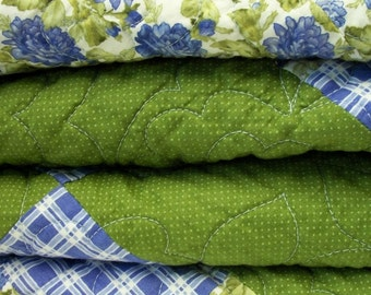 Roses Lap Quilt Periwinkle Blue Moss Green Quilted Quiltsy Handmade FREE U.S. Shipping