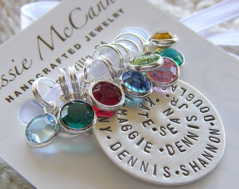 """Personalized Knitting / Crochet Stitch Markers - Hand Stamped Sterling Silver - 1"""" Spiral Charm and Crystals Marker Gift Set for Mothers Day"""