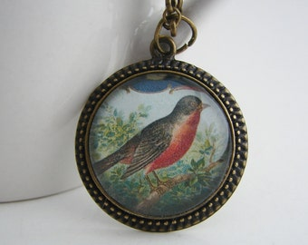 New Antiqued Robin Pendant with Free Necklace