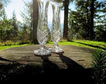 Noritake Hampton Hall Crystal Bud Vases - Noritake Bud Vases - Pair of Noritake Crystal Vases