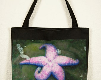 "Tote Bag, 'Pink Seastar and Her Bubble' by Shelley Irish, 18"" x 18"", Original Art Bag"