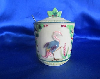 Vintage Japanese Marumon Ware Hand-decorated Jam Pot 'Storks and Flowers' Design with a Spoon