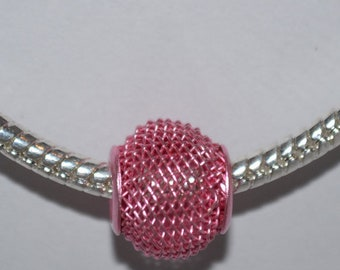 European Aluminum Mesh Pink Bead 10mm
