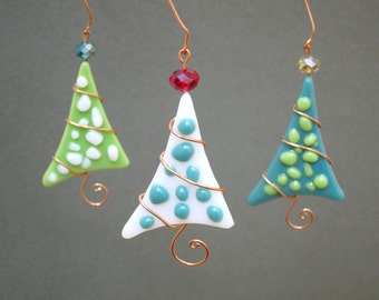 Christmas Tree Ornaments 3 Personalized Fused Glass Polka Dot Party Favor Green Teal