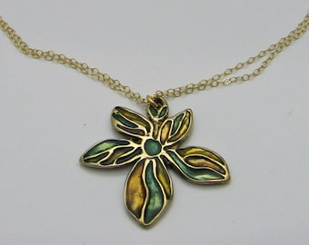 Colorful Flower Necklace, Bronze Necklace, Aqua Resin Necklace, Gold Necklace, Artisan Necklace, Pastel Necklace, Gift for Her, Fall Fashion