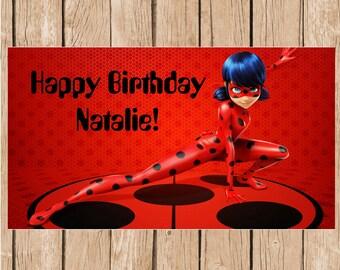 Miraculous Ladybug Vinyl Birthday Banner