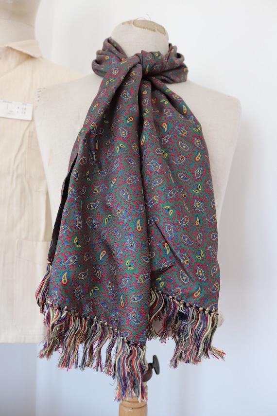 "Vintage 1960s 60s mens tassel tassled scarf mod dapper dandy red green acetate 17.5"" x 56"""