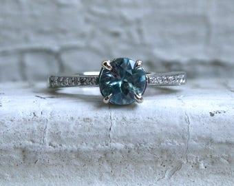 Pretty Vintage 14K White Gold Diamond and Blue Zircon Engagement Ring - 1.38ct.