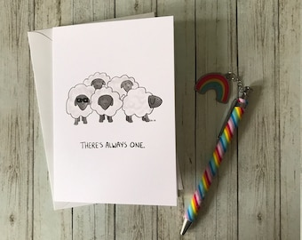 There's Always One Sheep- Greeting Card - Cute Sheep - Funny Animal - Sheep Lover Card