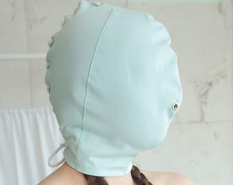 Mint Timeout Mask - Blindfold Baby Mint / ABDL / Restraining Face Hood / Laced / Adult Baby