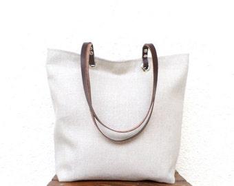 Linen tote bag, Large tote, Organic linen bag, Shoulder bag, Summer bag, Casual handbag, Beach bag, Cool tote bag,  Linen and leather tote