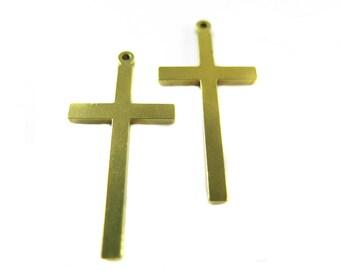 Vintage Raw Brass Engraving Cross Pendants (6X) (V462-A)