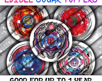 PreCut Edible Icing Image Birthday Beyblade Shower Mini Lollipop Cupcake Cookie Birthday Toppers Blade Metal Fusion Symbols