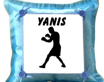 Blue cushion Boxer personalized with name