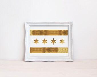 Chicago Flag Print, Gold Chicago Flag, Chicago Poster, Chicago Art Print, Gold Foil print, Gold Office Print, City Poster, Chicago Flag Art
