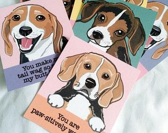 Beagle Valentines - Mini Eco-friendly Set of 6